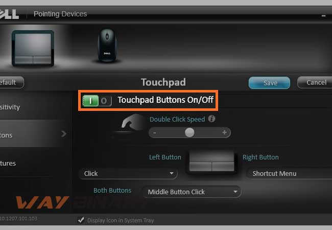 touchpad is on/off