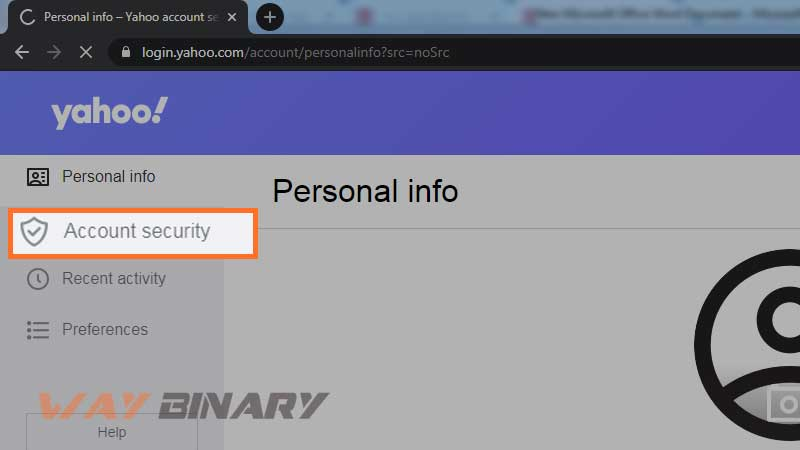 click on the Account Security